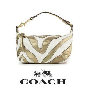 Coach Zebra Pattern Metallic Mini Bag